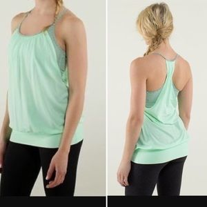 Lululemon No Limits mint green striped Bra Top 8